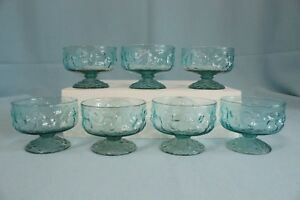 Vintage-Sherbert-Cordial-Glasses-Lava-Textured-Ice-Blue-Set-of-7