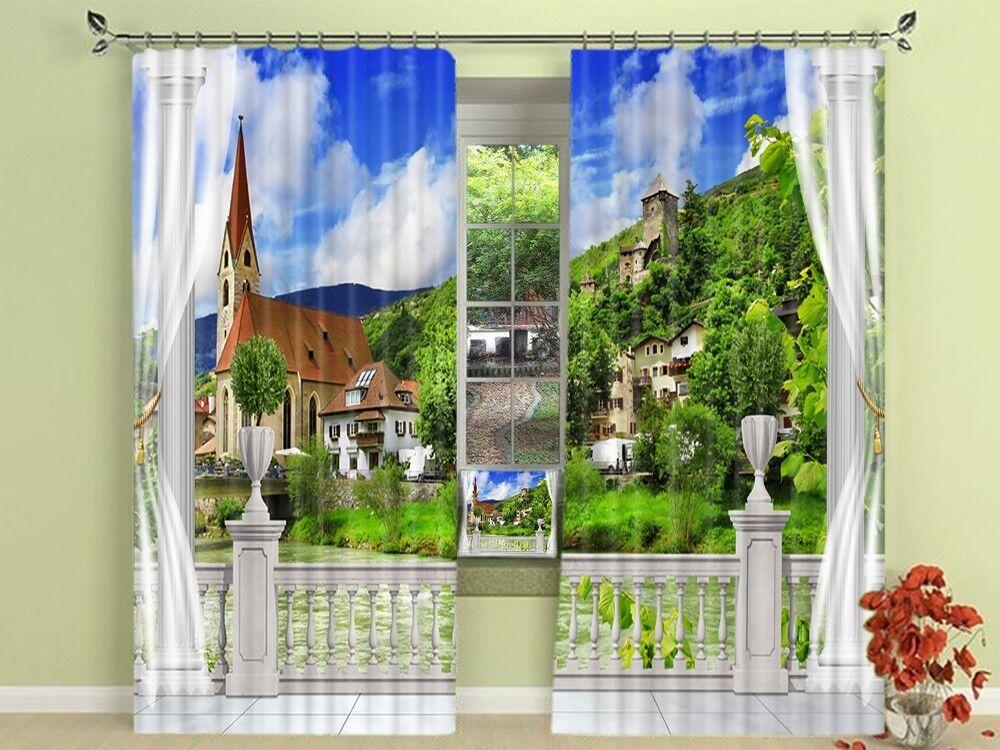 Vista balcón 3D 84 Cortinas de impresión de cortina de foto Blockout Tela Cortinas Ventana au