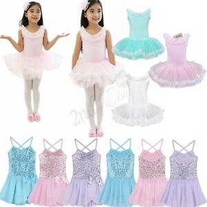 Girls Lace Ballet Dance Dress Leotard Tutu Skirt Gymnastics Fancy Fairy Costume