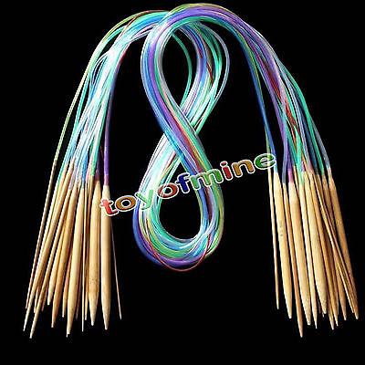 18Sizes Carbonized Bamboo Knitting Needles Multicolor Tube Circular 40cm - 120cm