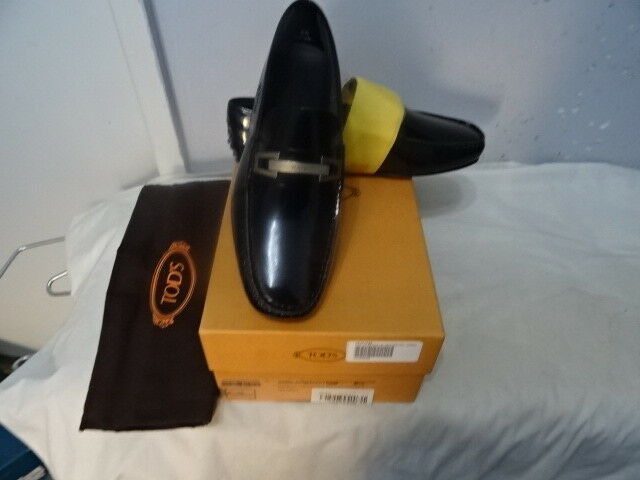 Tod'S Black leather loafers, silver-colord horsebit, leather Sz UK6.5 EU40.5