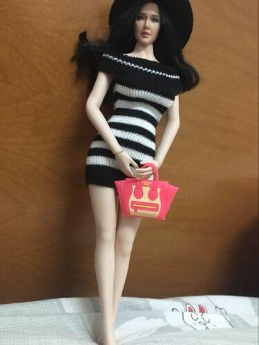 """Custom 1:6th Nera e Bianca a Righe Pullover Abito Per Bambola 12/"""" Corpo Donna"""