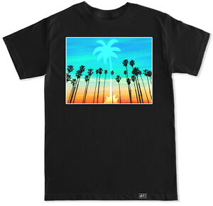 LA PALM TREES CALIFORNIA EDM PARTY DUB TRAP MUSIC DJ HOUSE DANCE MENS T SHIRT