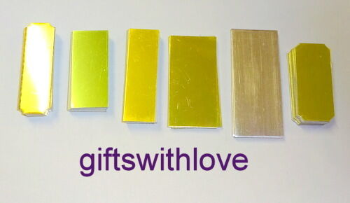 Sizes may vary from picture Assorted sizes Pack of 50 gold engraving plates