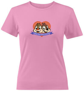 Forever-Chipmunks-Heart-Graphic-Juniors-Tee-T-Shirt-Chip-n-Dale-Cartoon-Size-L