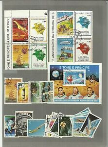 AFRICA- ST. THOMAS & PRINCE- 26 SPACE / AVIATION THEME STAMPS