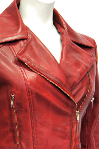 Womens Jacket Washed Sheep Nappa Leather Red Ladies Boston Designer Real Soft vWER68wq
