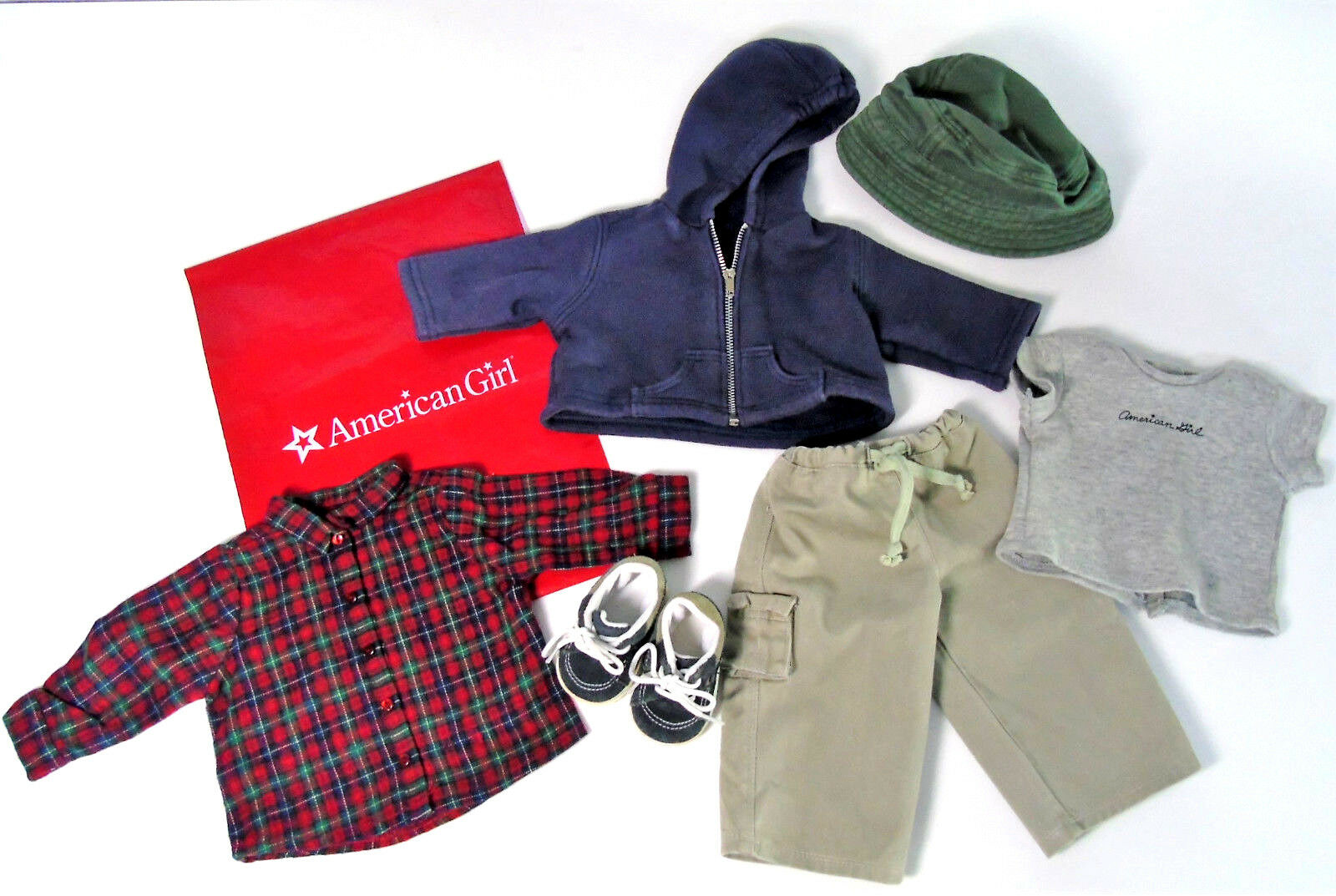 American Girl Puppe Kleidung Kordelzug Cargo Kariert Shirt Outfit Pleasant