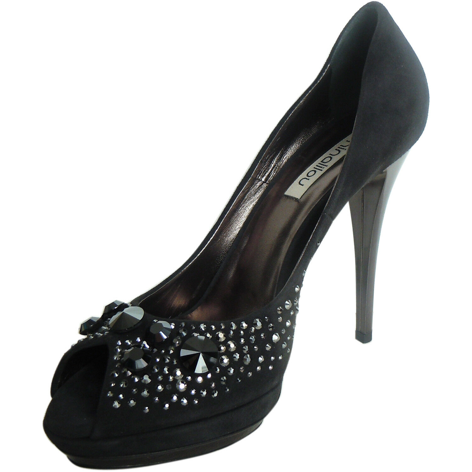 NINALILOU Made schwarz in  fashion peep toe schwarz Made suede pumps stiletto heels 190 bc84ff