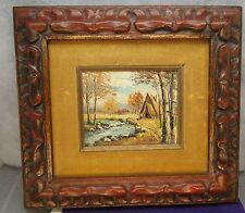 """Listed Artist L. KOHN Oil Painting 5"""" x 4.5"""" Vintage Frame A Frame Cabin Forest"""