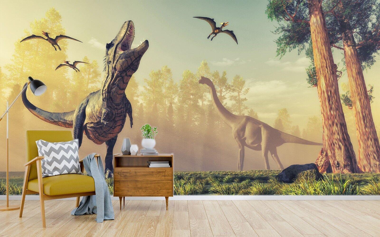 3D Sunrise Dinosaur Forest 3 Wallpaper Mural Print Wall Indoor Wallpaper Murals
