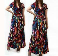 Sexy Plus Size Multi Color Waist Tie Wrap Cleavage Summer Maxi Dress XL US Made