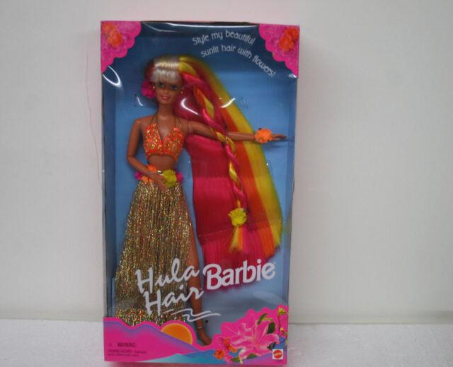 Hula Hair Barbie Doll Gold Skirt Pink & Gold Hair with Flowers Mattel NIB 1996