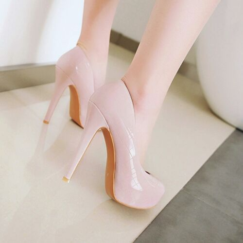 Ladies Club Party Shoes Synthetic Leather Platform High Heels Pumps US Size S984
