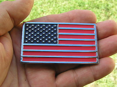 ~ USA AMERICAN FLAG CAR EMBLEM Chrome Metal Badge *NEW & UNIQUE* Show Your Pride