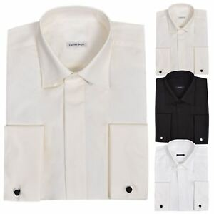 Vestido-de-Boda-para-Hombre-Formal-Manga-Larga-Cuello-Esmoquin-Completo-Camisa-De-Algodon-Llano-de