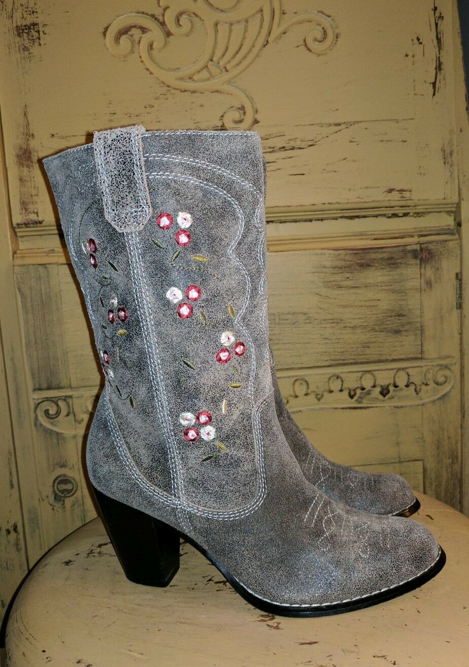 SYCHELLES GRAY LEATHER FLORAL FLORAL LEATHER WESTERN HIGH HEEL COWBOY Stiefel LADIES RODEO 6.5 M 87b80b
