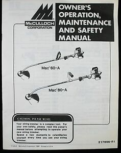 mcculloch trimmer instruction manual