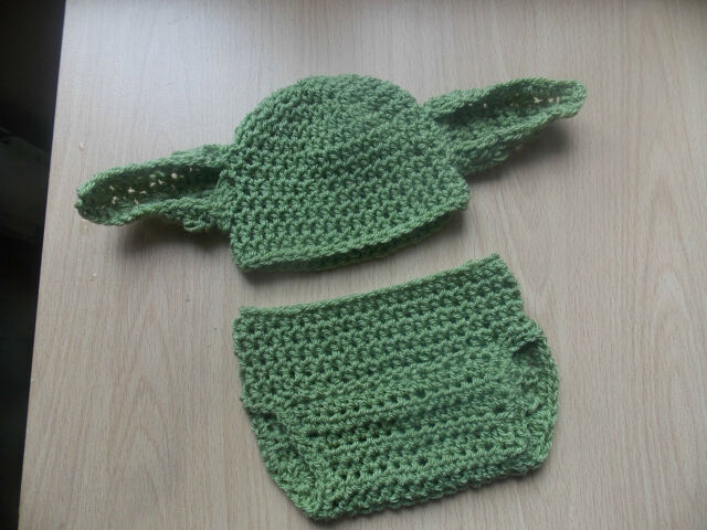 handmade crochet yoda hat and nappy cover set 0-3 months photo props star  wars 91af8286527