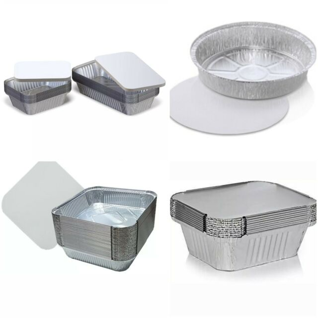 """New Aluminium Foil Containers with lids No.6A// 9X9 NO.12 Round 7/""""// Round 9/"""""""