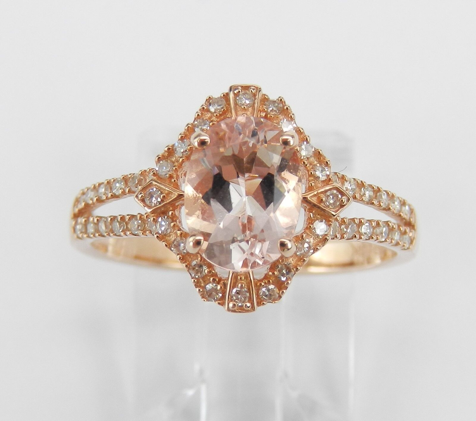 Morganite and Diamond Halo Engagement Ring pink Pink gold Size 7.25
