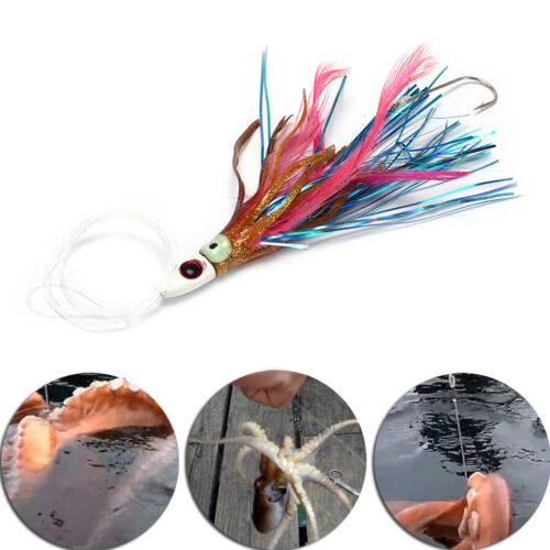 Resin Head Rigged Trolling Soft Skirt Lure Fishing Tuna Stainless Steel Hook ZP