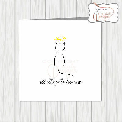 Pet With Sympathy Card Loss Bereavement Condolence All Cats Go To Heaven Angel