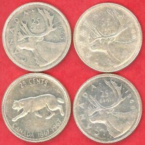Canada-25-cents-lot-of-4-1965-1966-1967-1968-Silver-Bullion-Lot-36