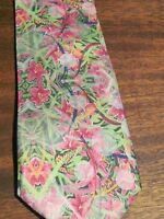 Original Art Luxury Silk Tie Valentines Day Wedding Mens Gift Pink Lily Floral