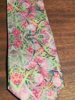 Original Art Luxury Silk Tie Valentines Day Wedding Mens Gift Pink Lily Floral