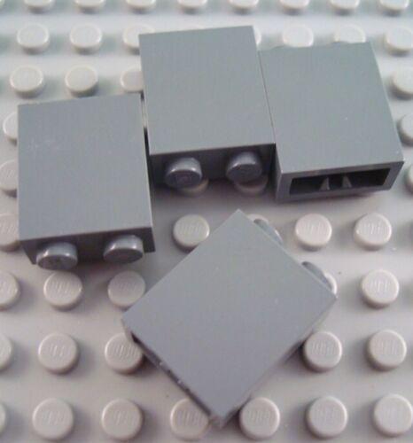 LEGO Lot of 4 Dark Bluish Gray 1x2x2 Wall Bricks