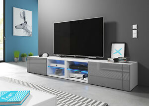 white grey tv unit best 200 cm tv stand tv lowboard cabinet led uk cupboard ebay