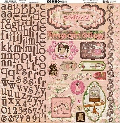 NEW BO BUNNY LITTLE MISS 12X12 STICKER COMBO SHEET