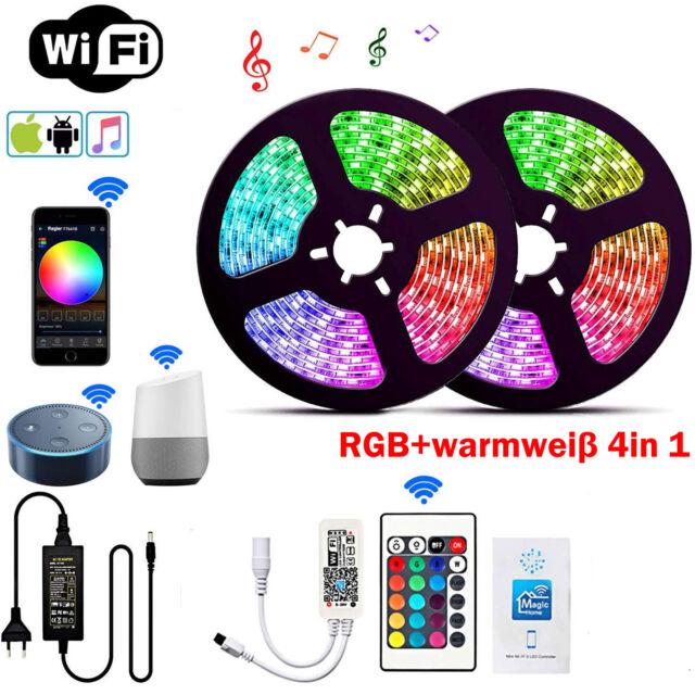 10M RGBWW RGBW 5050 SMD LED Stripe Streifen Band WiFi Alexa APP Controller Trafo