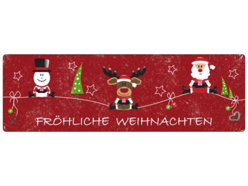 METALLSCHILD Blechschild Türschild SNOWMAN RUDI SANTA Weihnachten Nikolaus Deko