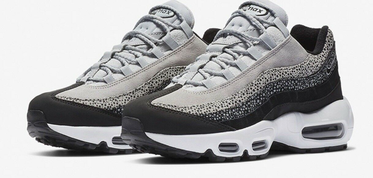 New Women's Nike Air Max 95 PRM Size 6.5    807443 016  White Black Wolf Grey