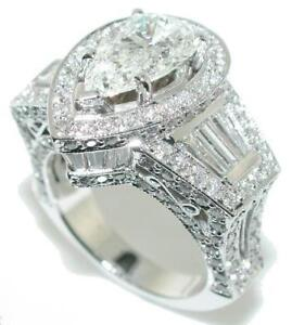 6-50-CT-Crown-PEAR-SHAPE-Diamond-Engagement-RING-18KW