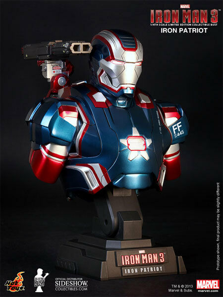 Hot Juguetes Iron Man 3-hierro patriota 1 4 Escala Figura De Acción Coleccionables Busto
