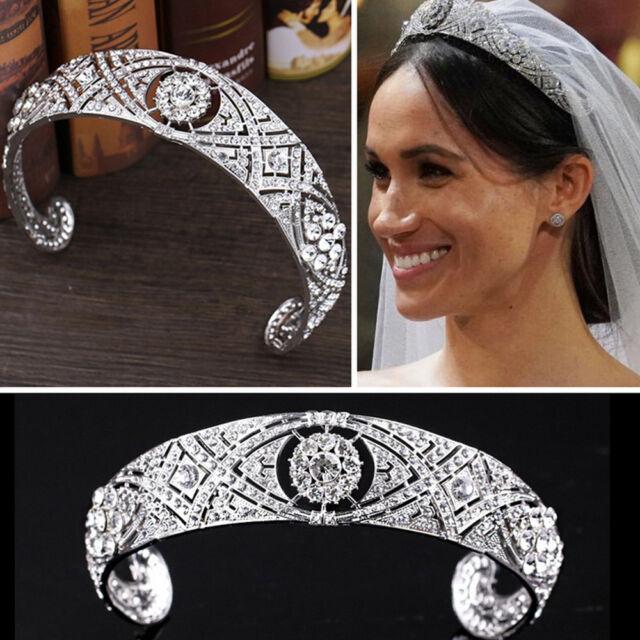 Rhinestone Crystal Meghan Wedding Crown Queen Mary Bandeau Tiara BP