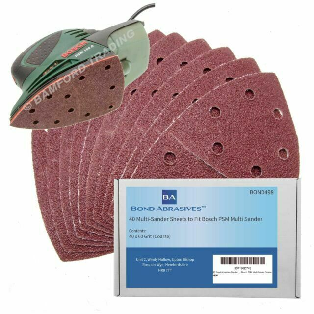 40 Sanding Sheets to Fit Bosch PSM 100A Detail Palm Sander 60 80 120 240 Grit