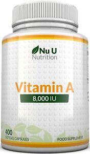 Vitamin A 8000 IU High Strength Vitamin A Supplement 365 Softgel Capsules
