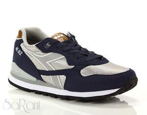 Scarpe Uomo DIADORA N92 Casual Run Low Sneakers Sportive Basse Blu Argento Lacci