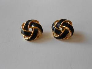 Image Is Loading Vintage Napier Clip Back Earrings Black Enamel