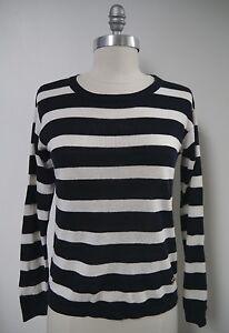 20b4e53b33929 LORO PIANA navy white striped linen knit long sleeve sweater top ...