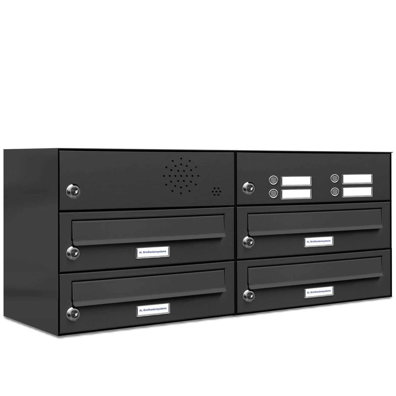 4 er Premium Briefkasten Anlage mit Klingel Klingel Klingel 4 Fach Postkasten Anthrazit 7016 a5b0f9