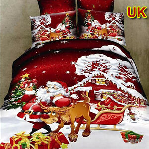 King Queen Size Christmas Cotton Bed Quilt Duvet Doona Cover Set