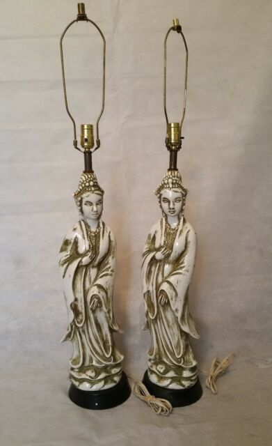 Mid century Pair of Guan Yin Table Lamps