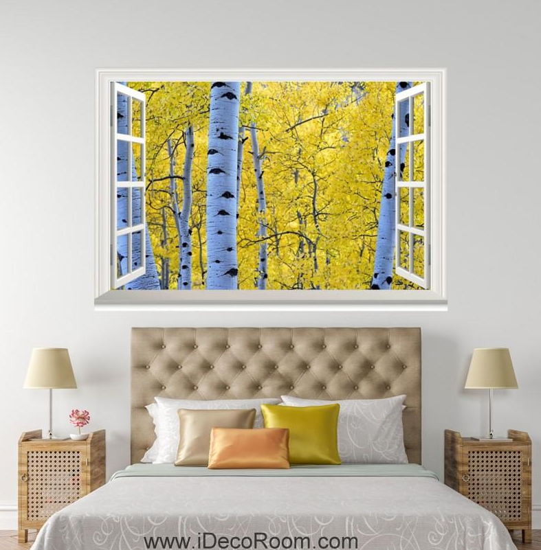 3D Birch Tree 4121 Open Windows WallPaper Murals Wall Print Decal Deco AJ Summer
