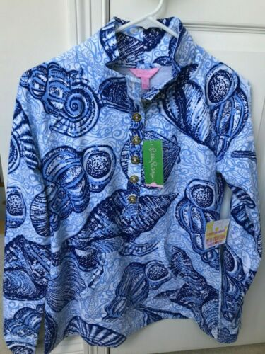 LILLY PULITZER Captain Popover Pullover Top Blue Peri Stuffed Shells XS NEW