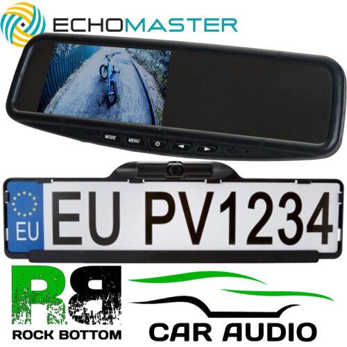 "Rear Car Number Plate Reversing CCD Camera /& Clip On Mirror 4.3/"" Screen Kit"